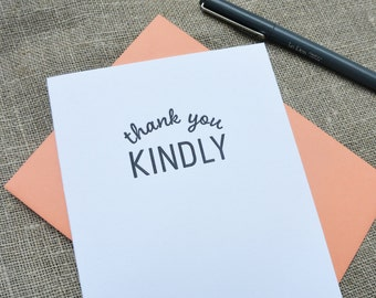 Letterpress Greeting Card  - Stuff My Friends Say - Thank You Kindly