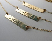 ONE Personalized Gold Bar necklace,Bar Monogram Necklace,Bridesmaid's jewelry,Initial Rectangle necklace in Gold or Silver, Initial Necklace