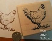 P58 Chicken, hen  rubber stamp