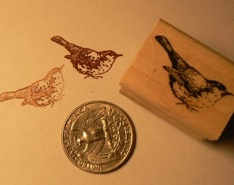 P24 Miniature bird rubber stamp WM 1x0.5