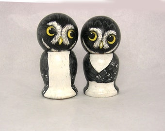 Black and White Owls Wedding Cake Toppers
