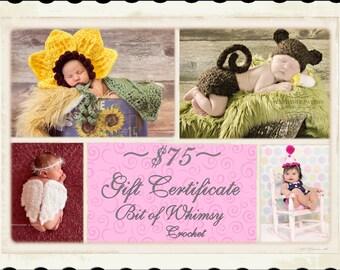 Gift Certificate 75 Dollars For Bit of Whimsy Crochet