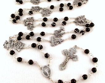 Stations of The Cross Rosary Beads Wire Wrapped in Black Onyx by Unbreakable Rosaries