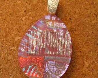 Pink Fused Glass Pendant Dichroic Pendant Glass Pendant Glass Jewelry Dichroic Jewelry Teardrop Pendant