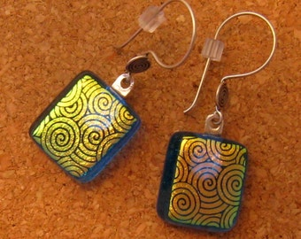 Dichroic Glass Earrings Dichroic Jewelry Fused Glass Earrings Fused Glass Jewelry Blue Earrings