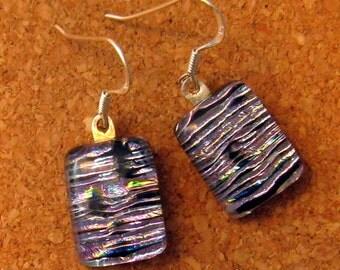 Dichroic Earrings - Fused Glass Earrings -Dichroic Jewelry - Fused Glass Jewelry - Purple Earrings - Dangle Earrings