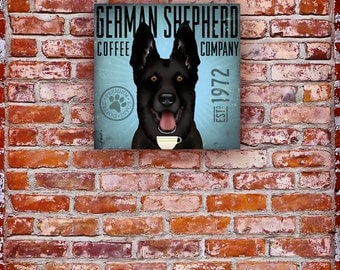 Black German Shepherd Coffee Company dog graphic illustration on gallery wrapped canvas by Stephen Fowler
