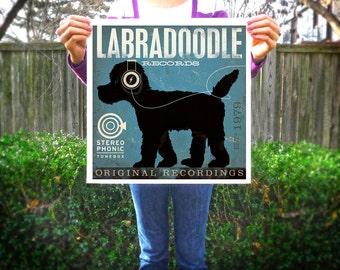Labradoodle Records original graphic art giclee archival print  by stephen fowler