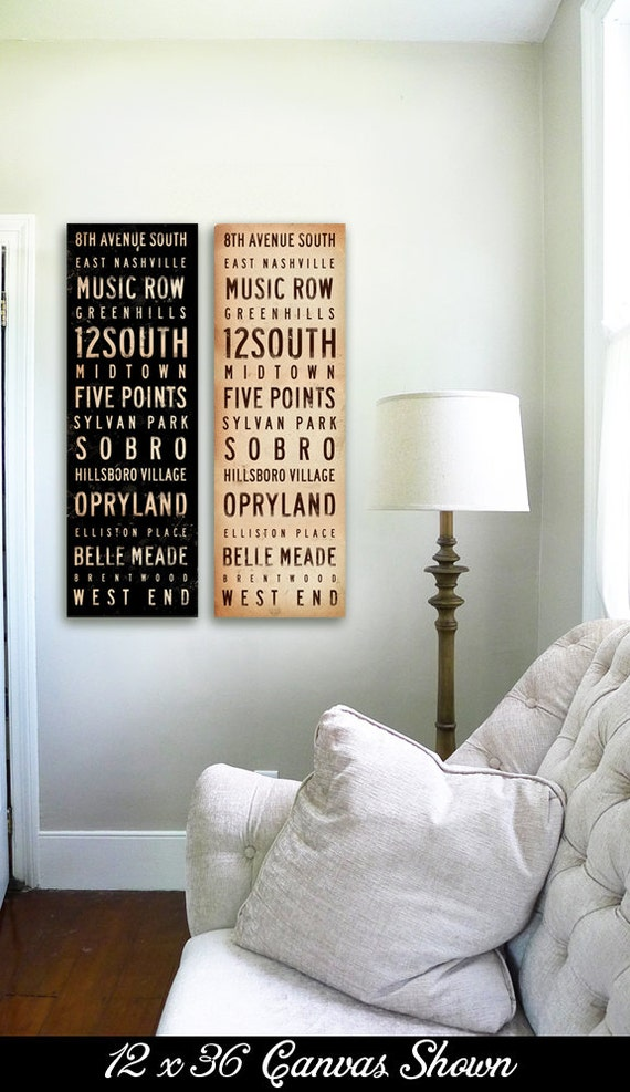 Nashville neighborhoods typography graphic art on gallery wrapped canvas by stephen fowler