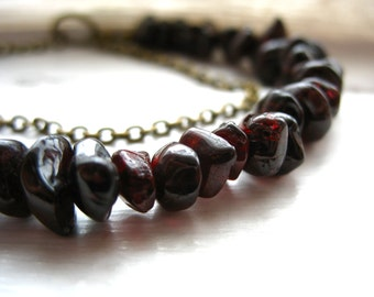 Garnet Necklace, Merlot Red Garnet Stone Statement Strand Necklace, handmade artisan Garnet jewelry