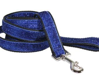 Bling Dog Leash - Blue Glitter Dog Leash - Royal Blue Sparkly Leash - Celebri-Pup Royal Blue Glitter Dog Leash