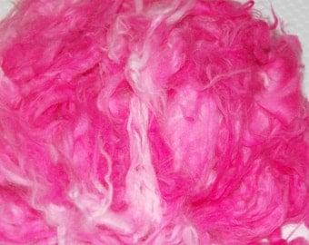 Angora Rabbit, German Giant, Down, Fur, Loose Fiber, Batt, Spinning Fiber, Felting Fiber, Hand Dyed Pink Rabbit Fur 1 oz.