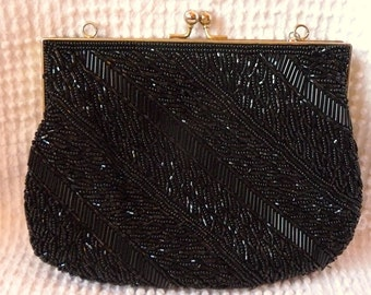 Vintage Beaded Black Purse - Perfect for a Wedding or Other Special Occasion