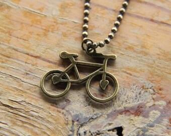 Bike Necklace with Retro Gold Bike Pendant