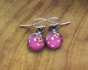 Hot Pink, Yellow Flowers,Glass, Sterling Silver Earrings