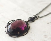 Amethyst jewel necklace vintage brass art nouveau 1920's style antique purple scarab egyptian February birthstone