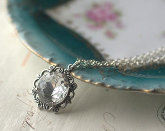 Crystal jewel necklace bridal victorian filigree antique silver wedding jewelry bridesmaid