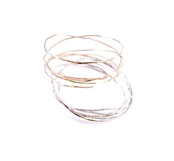 Springy Bracelet - Sterling Silver, 14K Gold Fill, Oxidized Sterling Silver Bangles