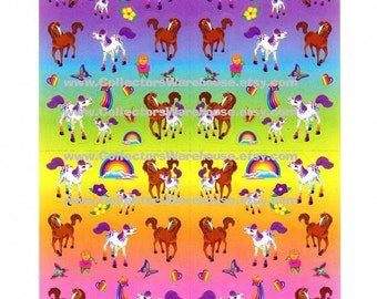 Lisa Frank Lollipop and Rainbow Chaser Horses Sticker Sheet S726
