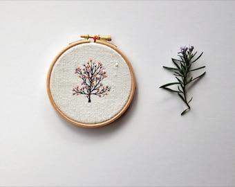 original mixed media  hoop art - Tiny Tree IV