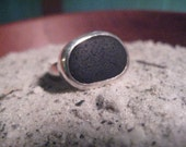 Good Night Ring...black sea glass silver ring