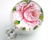 Glass Front Magnetic Retractable ID Badge -Pink and White Rose on a Clear Badge Reel