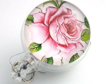 Glass Front Retractable ID Badge -Pink and White Rose on a Badge Reel - Name Badge Holder 114