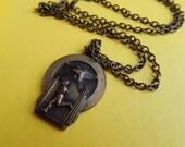 1940s Art Deco Vintage Track Medal Necklace