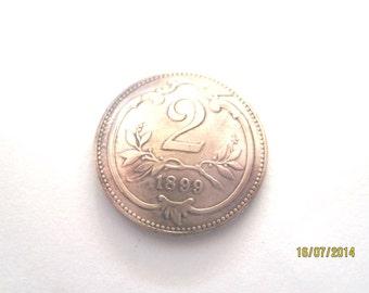 Coin tie tac~Antique Austrian 2 Heller coin tie tac/golf marker- free shipping
