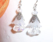 HALF PRICE Sale - Vintage Style White Flower Dangle Earrings or Tree Ornaments