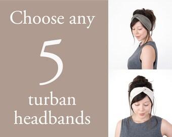 Any 5 Turban Headbands // Turband // Hair Wrap Turban // Fabric Headband // Stretch Headband // Yoga  Hair Wrap // Fashion Turban