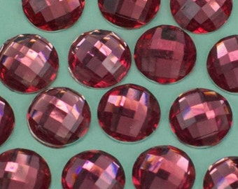 12 Vintage Pink Silver Faceted Lucite Cabochon 9mm