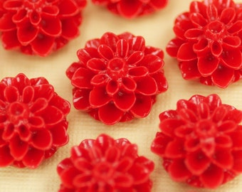 6 Red Flower Cabochons Flat Back 15mm