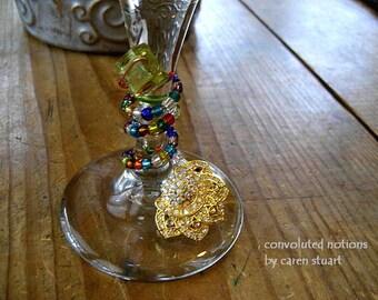 gold tone vintage rhinestone wine glass charm upcycled bling