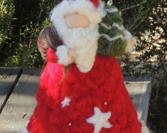 Made to order Santa Tree Topper -  Needle Felted Christmas sculpture by Rebecca Varon-Waldorf-inspired made to order