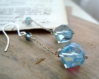Light Blue Vintage Crystal Dangle Earrings Swarovski, Sterling Silver, Bridesmaid Jewelry, Bridal Jewelry, Weddings, Gifts Under 40