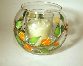 Floral Hand Painted Candle Holder