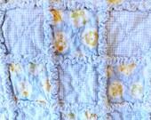 Baby Rag Quilt, Crib Rag Quilt, Flannel Baby Rag Quilt, Baby Boy Quilt, Gingham and Sleepy Animals Quilt, Handmade