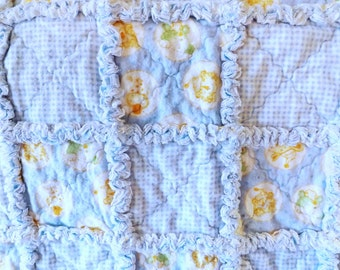 Rag Quilt - Gingham and Sleepy Animals Quilt - Crib Quilt - Flannel Baby Rag Quilt - Baby Boy Quilt
