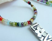 Rainbow Love Multi Colored Cubic Zirconia Artisan Sterling Silver Love Charm Boho Hippie OOAK Necklace