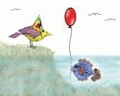 Children's Art Print, Kids Wall Art Print, New Neighbors, Childrens Decor Art, Bird art print