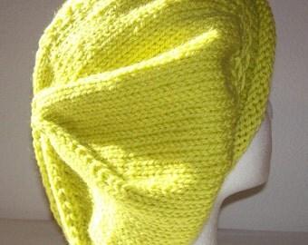 Rolled Brim Wool Tam - Slouchy Knit Beret - Knitted Dreadlock Tam - Hand Knit Hat - Lemongrass