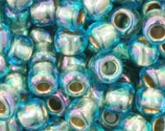 Toho Size 11 Seed Bead Gold Lined Rainbow Aqua 19 grams