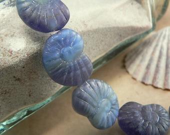 Purple Blue Czech Glass Nautilus Shell Beads Violet Aqua Matte 17x13mm (6)