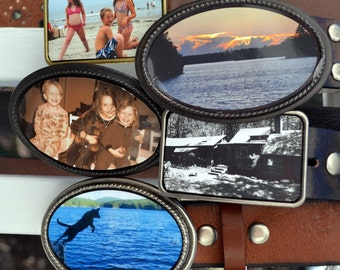 Custom Photo Belt Buckle and Leather Belt - an Amazing Gift for a Treasured Memory