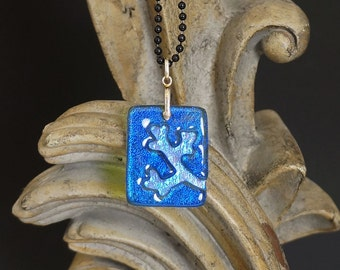 Branch Blue Carved Dichroic Glass Pendant - FREE SHIPPING!