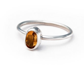 Sterling Silver Citrine Ring, Stack Ring, 50% OFF, size 7