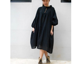 Black soft  cotton Summer  Loose tunic  Boho Dress S-L (H)