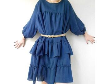 Custom Made Dark Blue  Cotton Ruffle Loose Short Tunic Dress Boho Blouse M-L (H)