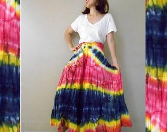 Hippie Gypsy Tie dye Cotton Patchwork Long Smock Skirt /Summer Dress S-L (07)